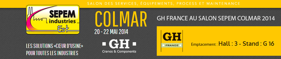 Gh france au salon sepem colmar 2014 gh cranes for Salon sepem