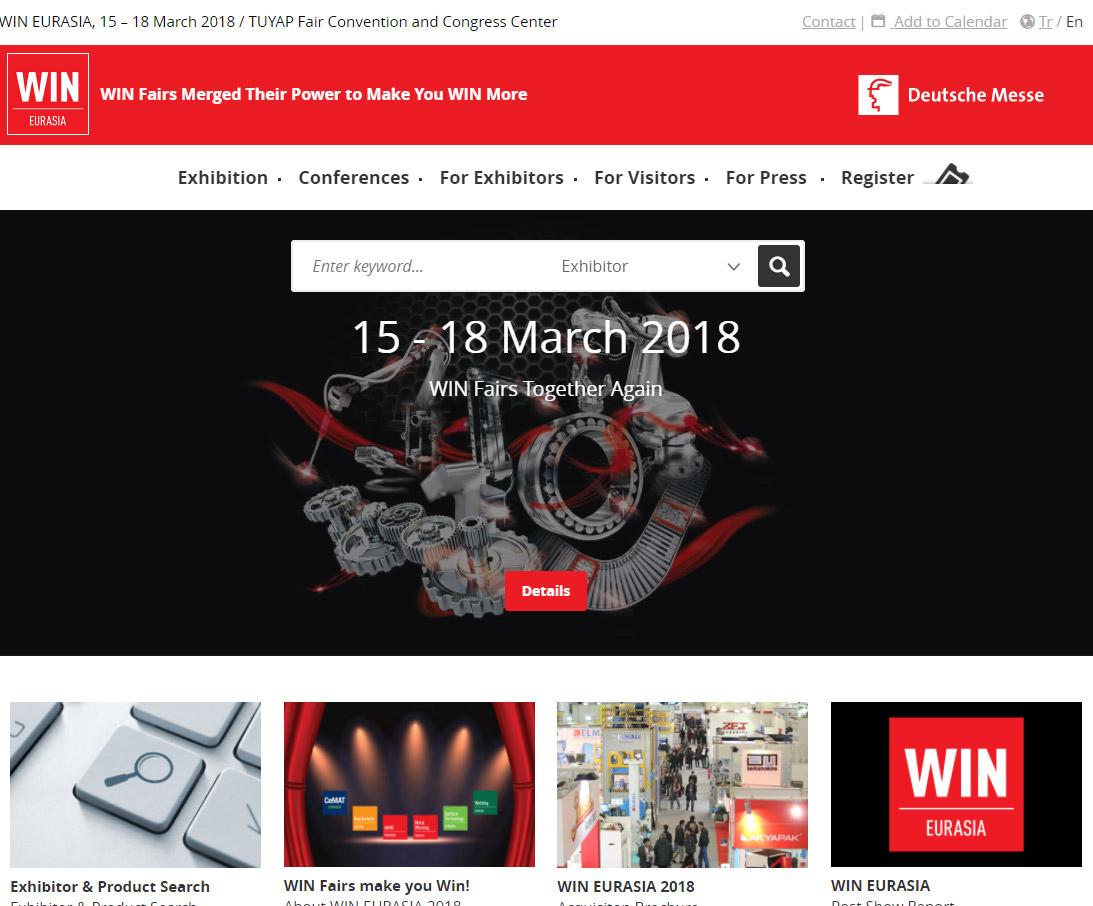 GH CRANES & COMPONENTS at the WIN EURASIA fair that will be held from 15 to 18 March 2018