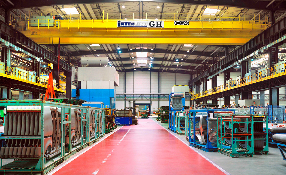 <br>60 / 20t lifting capacity bridge crane at the Gestamp facility