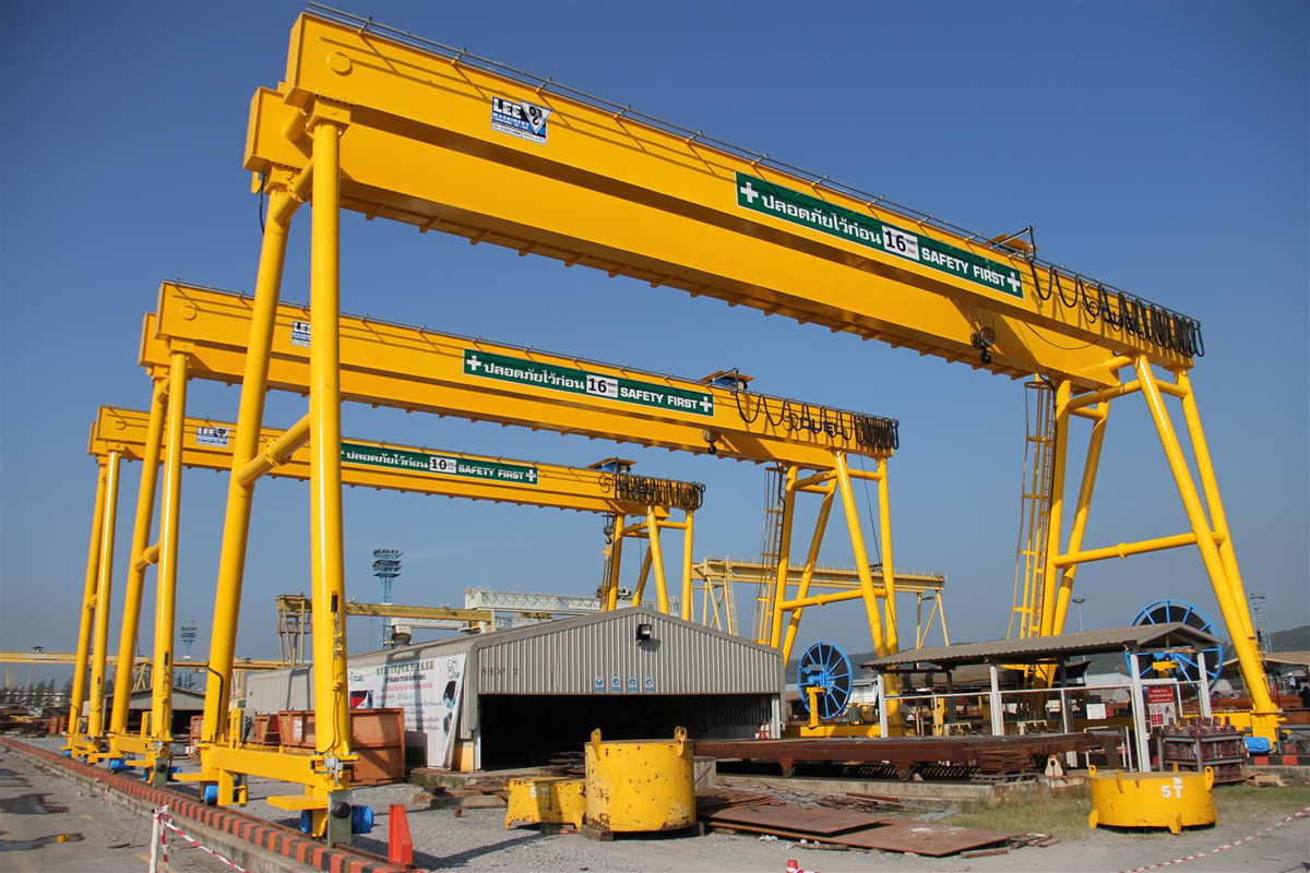 <br>Several gantry cranes with different lifting capacities hoists in Thailand for customer Cuel