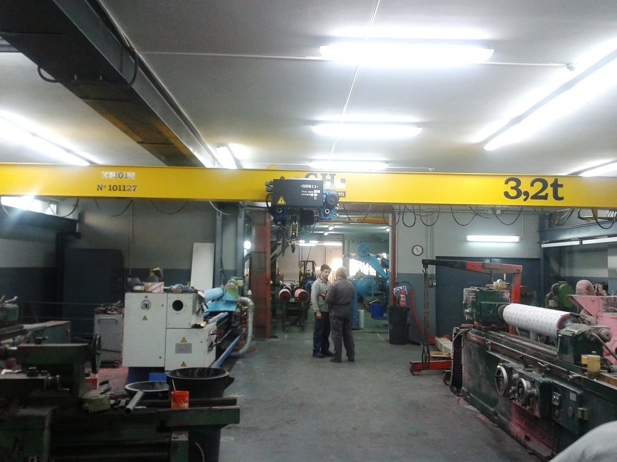 <br>Overhead crane with hoist of 3.2t lifting capacity for customer Prodibor - Revestimento de rolos em Borracha Lda in Gaia(Portugal)
