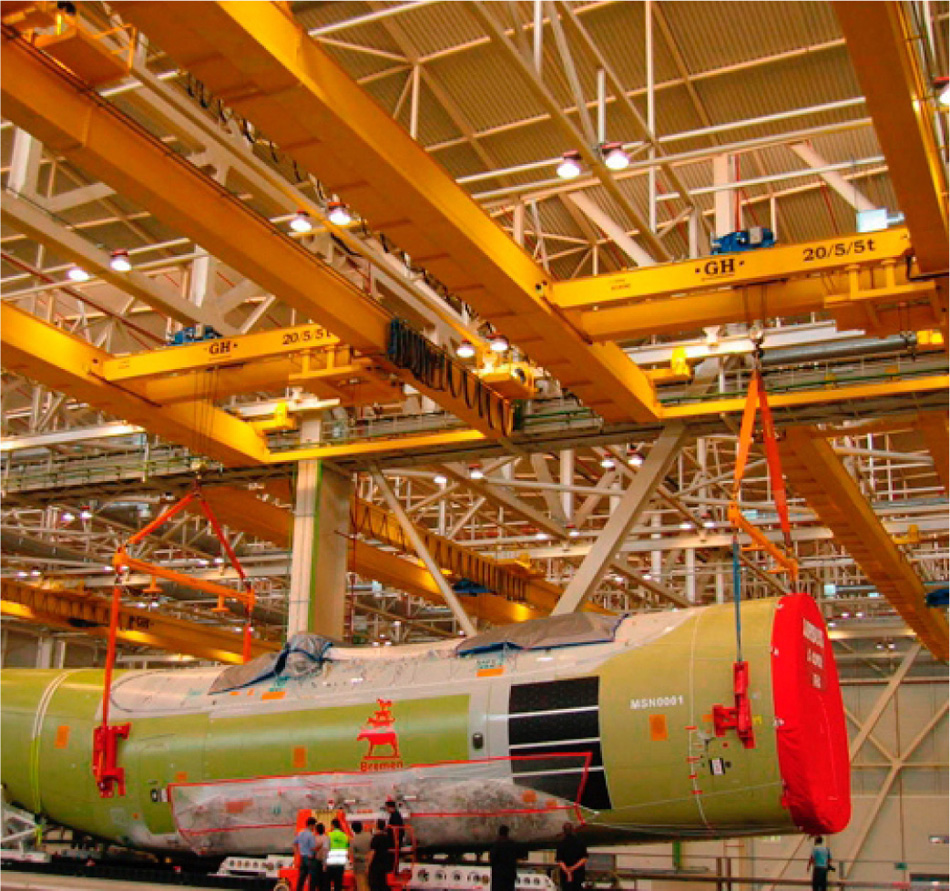 Installation of GH CRANES & COMPONENTS goliath cranes in Aerospace industry.