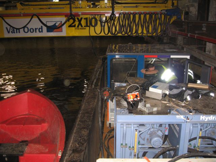 <br>EOT crane with two 10t hoists located in an underground canal in Holland for Van Oord.