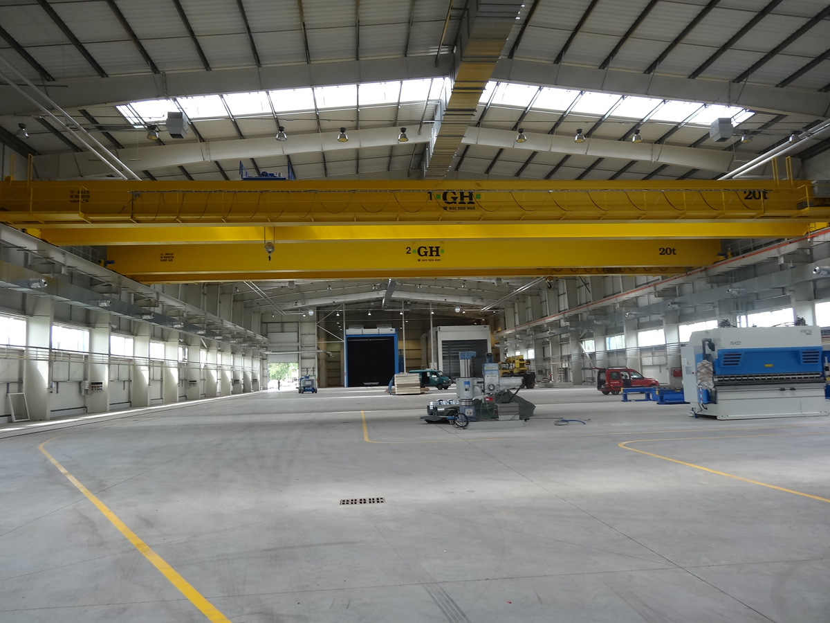 <br>Two bridge cranes with 20t lifting capacity hoist each for customer Egbud in Poland