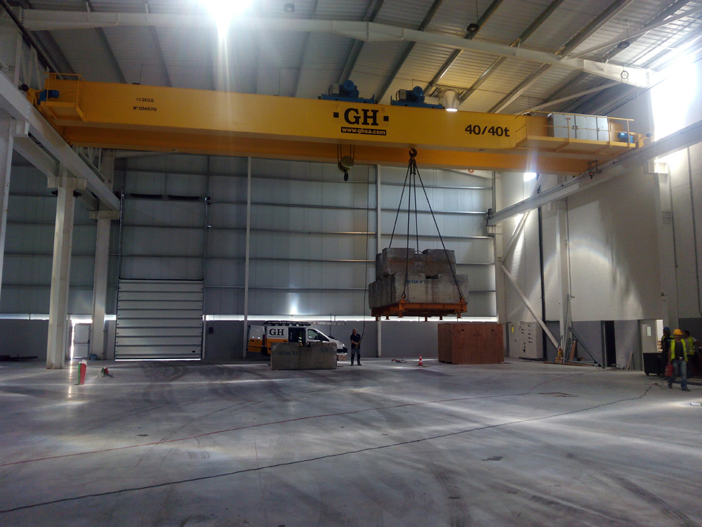 <br>Installation in GARCIA,  GARCIA, S.A. in Viana do Castelo (Portugal), double girder bridge crane with two hoists  of 40 / 40t lifting capacity, 10 meter lifting height and 24.30 meters span.