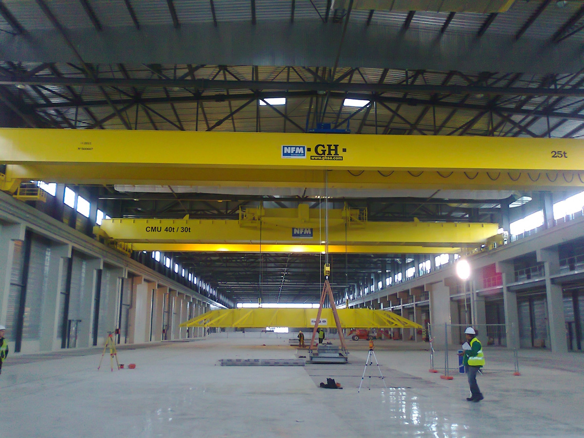 <br>Several overhead crane installed with different lifting capacity hoists for NFM in Manosque (France)