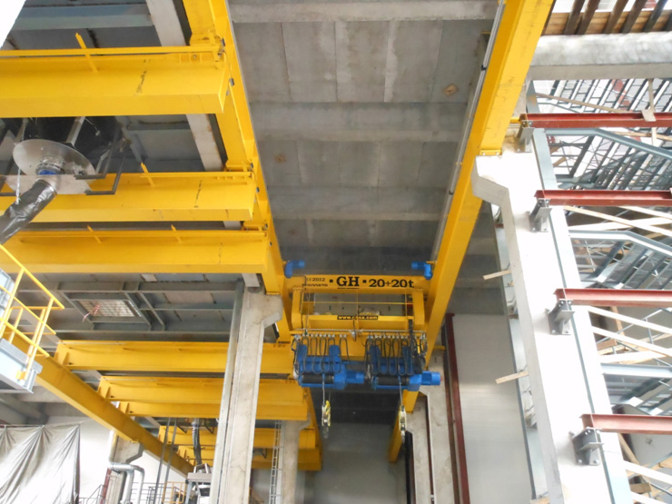 <br>EOT crane with two 20t hoists for Pirelli in Russia.